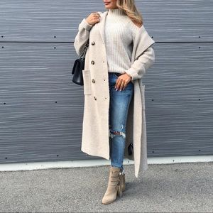 Zara Oversized Long Hooded Double Breasted Sweater